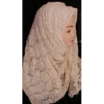Lace hijab- Imported material  in beige color