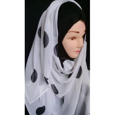Mariam hijab - Black polka printed in Georgette