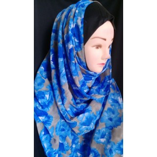 Royal Blue Mariam hijab- Georgette Fabric