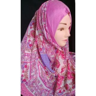 Mariam hijab - Pink Floral printed in Georgette