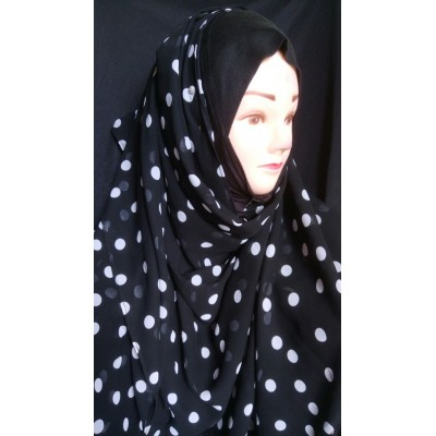 Mariam hijab - White polka printed in Georgette
