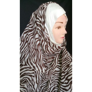 Brown Waves Mariam hijab- Georgette Fabric