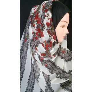 Red Rose Print Mariam hijab- Georgette