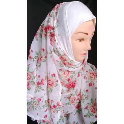 Pink Rose Print Mariam hijab- Georgette