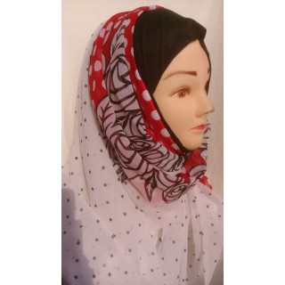 Mariam hijab - Red border in Georgette