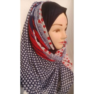 Mariam hijab - White polka in Georgette