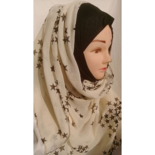 Cream color with star print Mariam hijab- Georgette Fabric