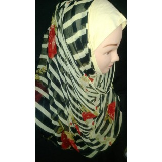 Black Stripped  Mariam hijab- Georgette Fabric