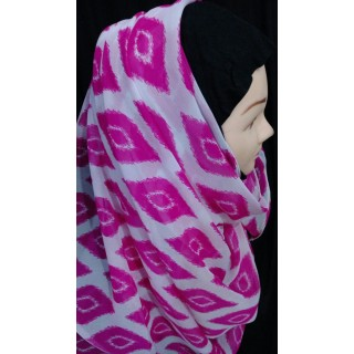 Pink printed  Mariam hijab- Georgette and jersey fabric