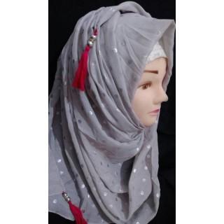Silver polka dot Square hijab - Cotton Fabric