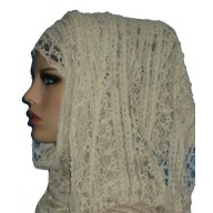 Laced wrap hijab - White color