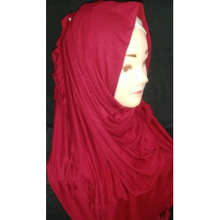 COTTON JERSEY HIJAB SCARF - MAROON