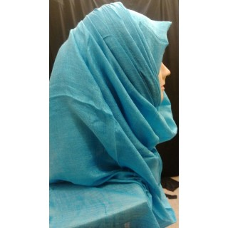 Turquoise colored silk cotton hijab