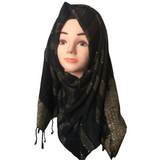 Black & Golden Cotton Shimmer Hijab