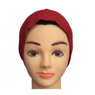 Under scarf - Fire-Brick colored hijab cap in jersey fabric