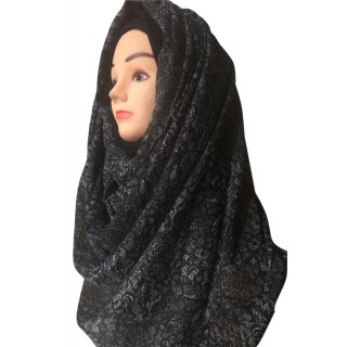 Mariam hijab - Black graphics printed in Chiffon
