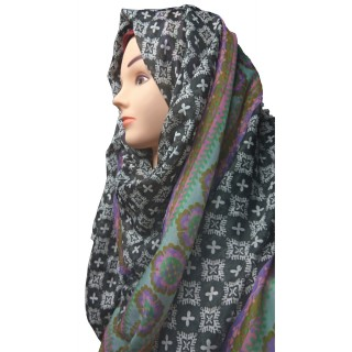 Black printed Hijab- Silk Cotton Fabric