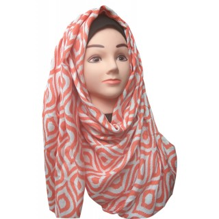 Orange Color printed Hijab- Cotton Fabric