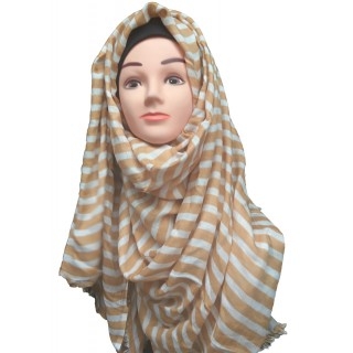 Golden Strip printed Hijab- Cotton Fabric