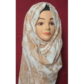 Orange White Cotton Hijab