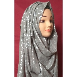 Grey Color Silver Print Hijab