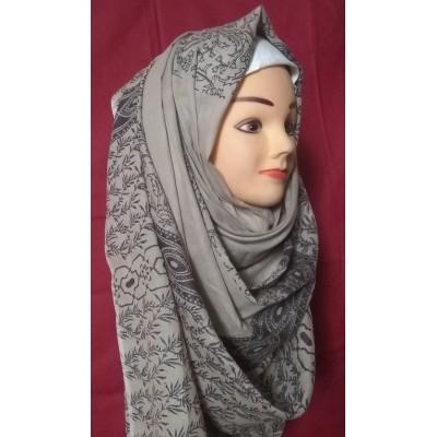 Grey Color Printed Cotton Hijab