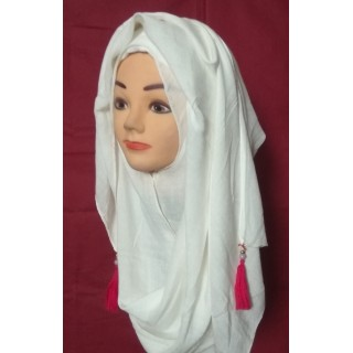 Plain White Cotton Hijab with Pom-Pom