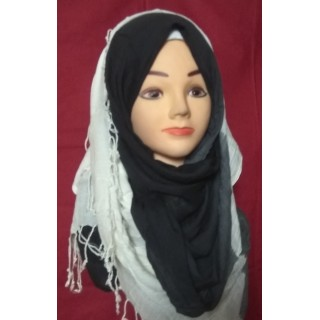 Black and White Shaded Cotton Hijab