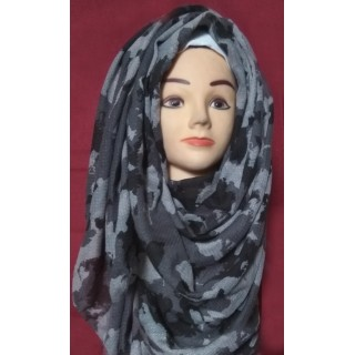 Black & Grey Army Print Hijab- Cotton Fabric