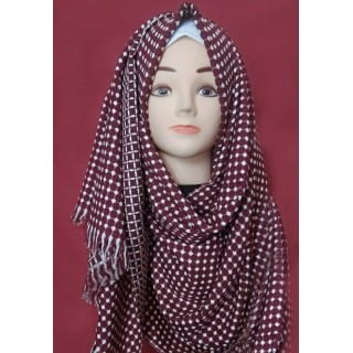 Maroon Polka dots both side wearable hijab