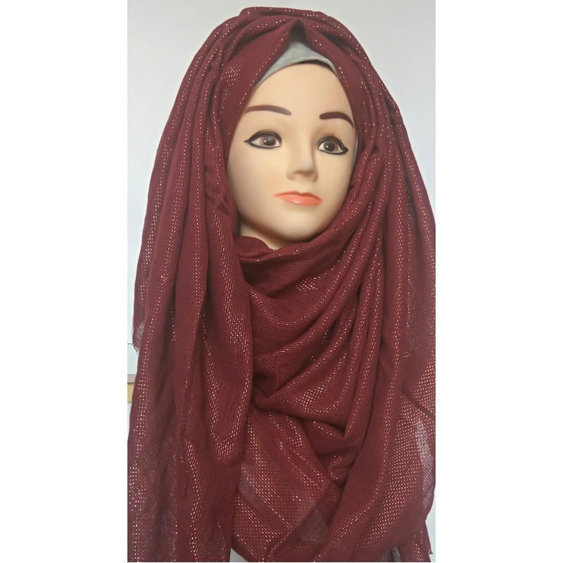 Wrap Hijab online- Maroon Glitter Party Wear Hijab in cotton-linen fabric