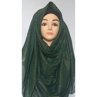 Green Glitter Party Wear Hijab-Stole