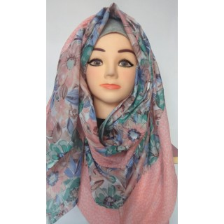 Pink Flower Print Hijab|Stole