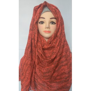 Orange Black Zig Zag Printed Hijab-Stole