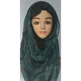 Regal Green Cross Stripe Mariam Hijab