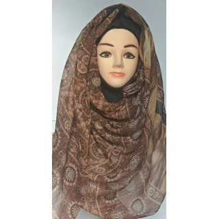 Mariam hijab- Choco Brown Printed