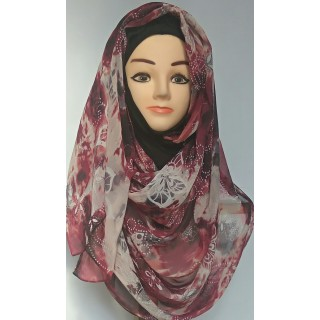 Mariam Hijab - Dark Purple Printed
