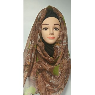 Mariam hijab- Golden Brown Printed