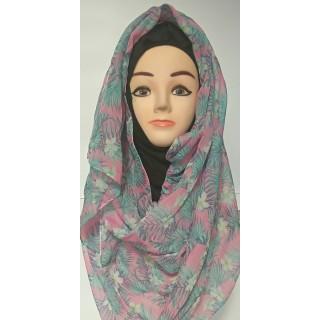 Mariam hijab - Baby Pink Leaf Printed