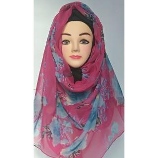 Magenta Color Printed Mariam Hijab