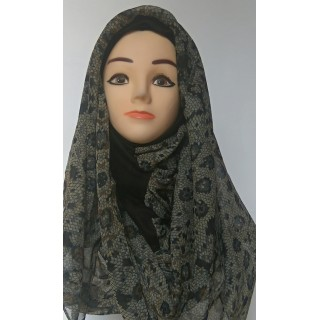 Black Graphical Print Mariam Hijab