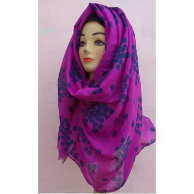 Purple Polka Dotted Cotton Stole