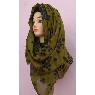 Mehndi Color Polka Dots Cotton Hijab