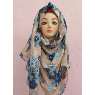 Peach Color Printed Cotton Hijab
