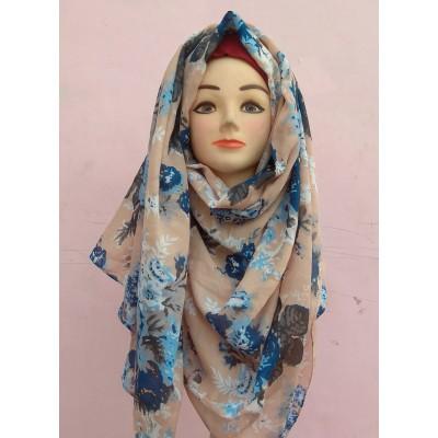 Peach Color Printed Cotton Hijab