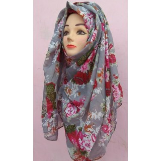 Grey Color Flower Printed Stole