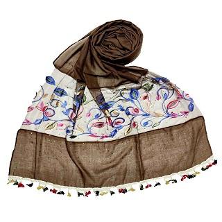 Designer Flower Aari Diamond Collection - Chocolate Brown