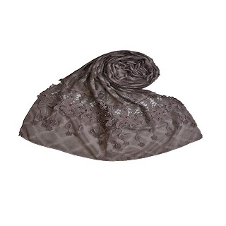 Diamond Work Heavy Lace Hijab With Fringe Stole - Purple