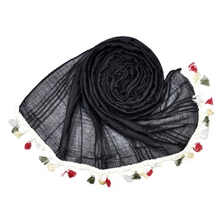 Designer Party Wear Striped Liner Stole With Colorful Fringe's - Black