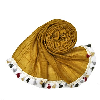 Designer Party Wear Striped Liner Stole With Colorful Fringe's - Yellow
